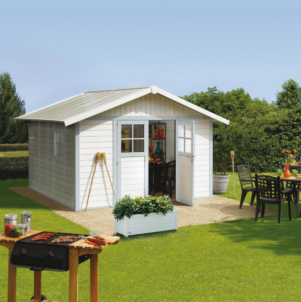Grosfillex cabri de jardin en pvc 11 2m deco blanc et gris for Abri de jardin gris 12m2