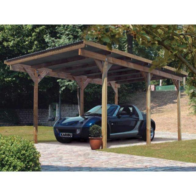 Karibu carport eco 1 simple bois 304 x 490 x 229cm for Carport abri de jardin