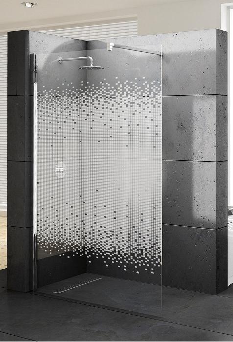 Novellini paroi de douche fixe lunes h 70cm serigraphie silv catgorie douche - Paroi de douche fixe 140 ...