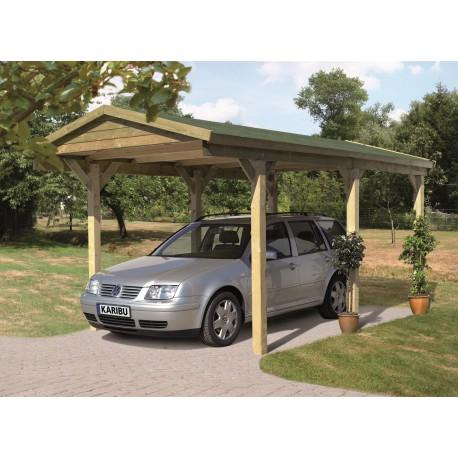 karibu carport 14 73m en bois autoclave fsc toit double. Black Bedroom Furniture Sets. Home Design Ideas
