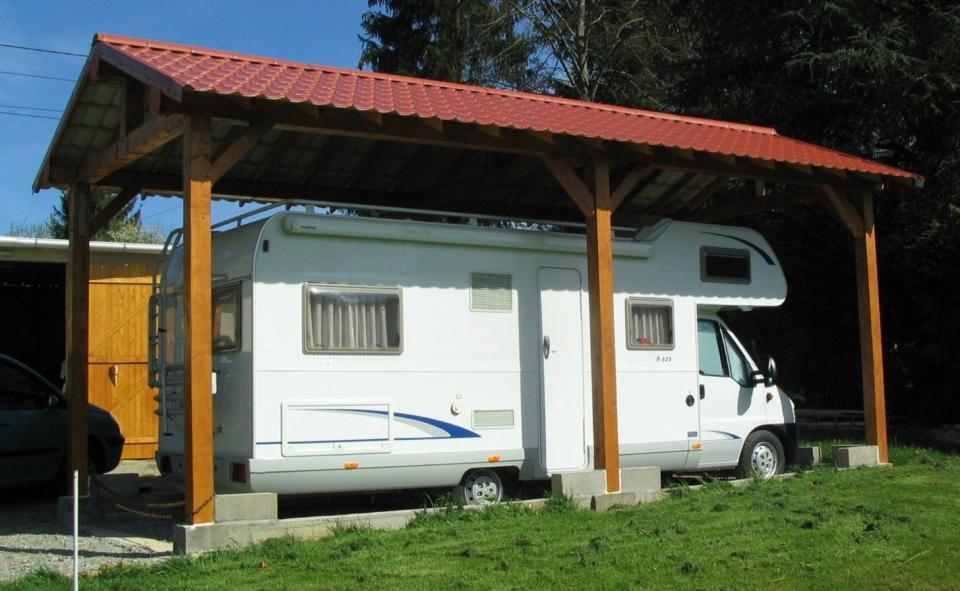 Carport en bois pour camping car kalkutta sans montage - Montage carport bois ...