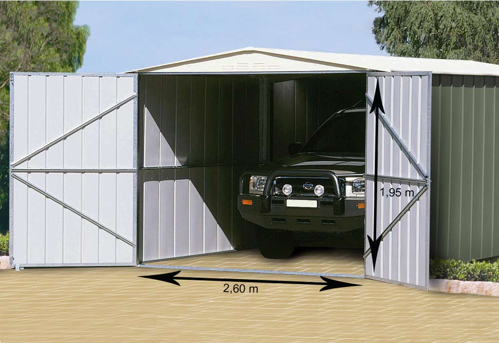 Treco garage m tal colorbond 307x588x225 for Comparateur garage voiture