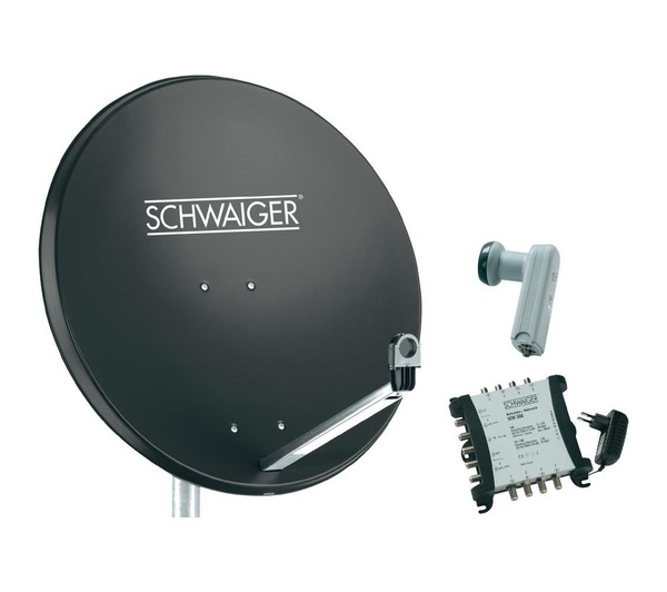 Schwaiger kit parabole sat 80 cm lnb quattro commutateur for Regler son antenne satellite
