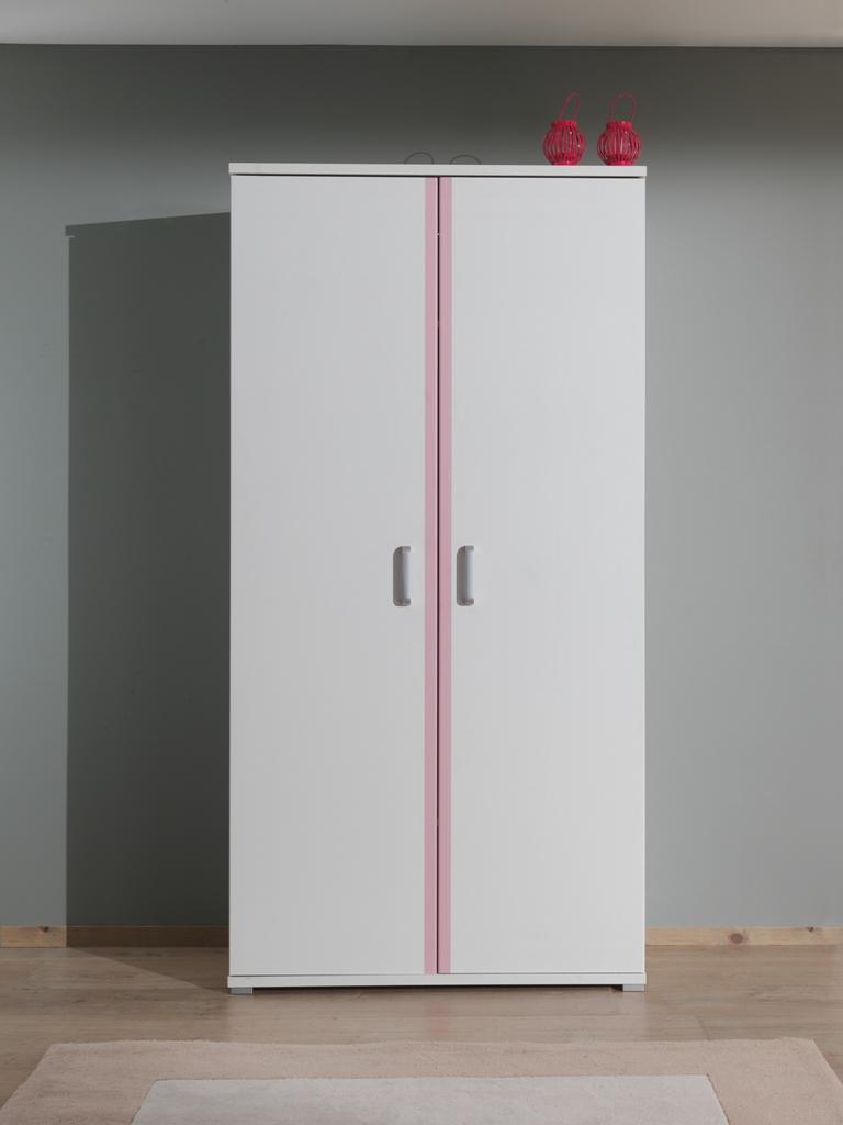 swithome armoire 2 portes valentine laqu blanc rose. Black Bedroom Furniture Sets. Home Design Ideas