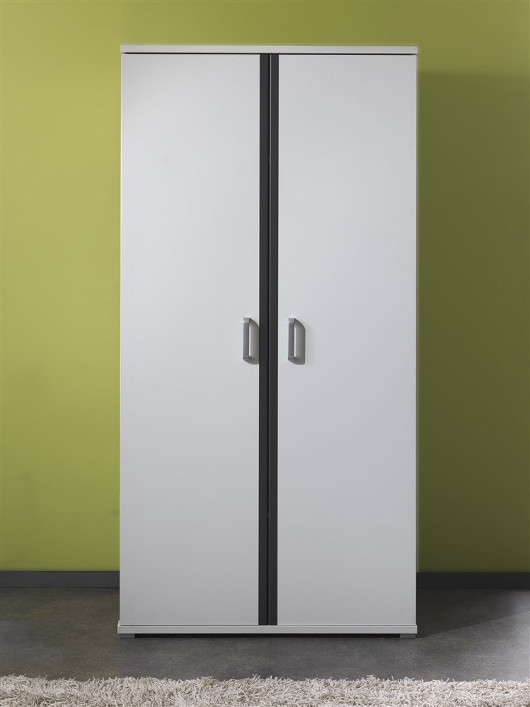 swithome carmoire 2 portes josh laqu blanc gris. Black Bedroom Furniture Sets. Home Design Ideas