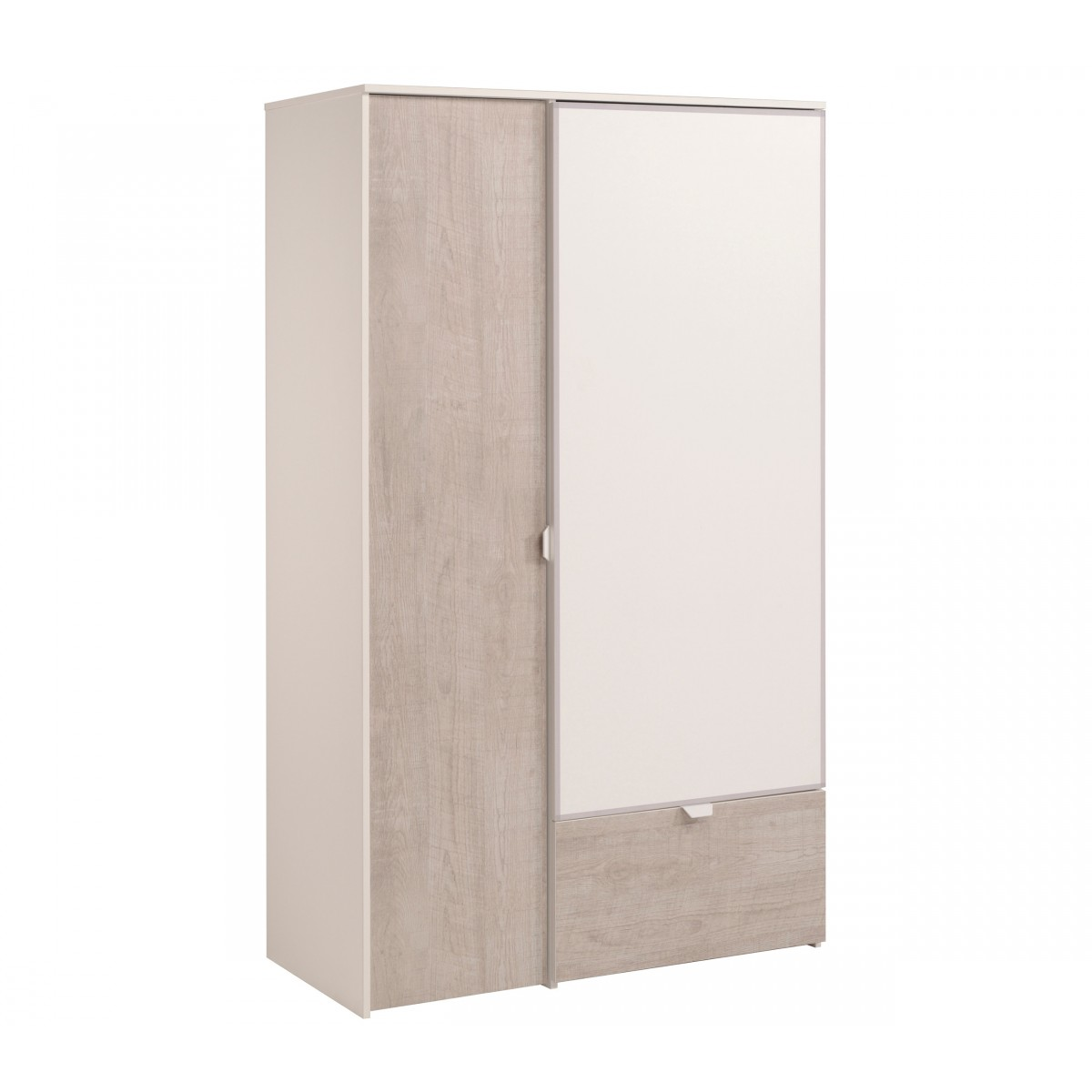 terre armoire 2 portes 1 tiroir blanc et gris loft boris. Black Bedroom Furniture Sets. Home Design Ideas