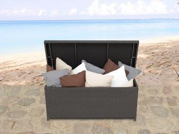 beliani coffre en rotin marron coffre coussins de jardin 160 cm modena. Black Bedroom Furniture Sets. Home Design Ideas