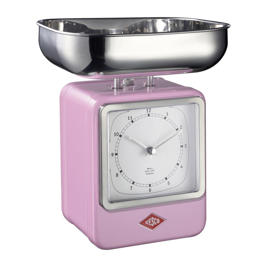 Wesco retro balance avec horloge rose fonc 15x27x13cm for Cuisine wesco