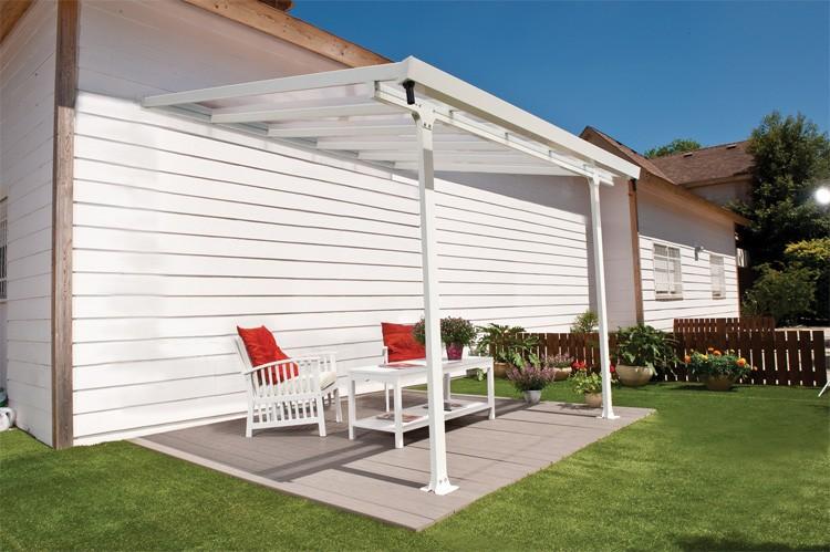 Chalet pergola murale feria couv terrasse blanc 3x7m for Chalet pour jardin