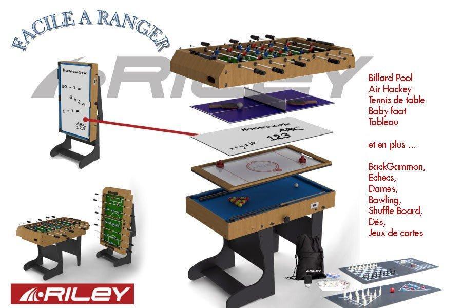 riley 12 en 1 pliable bois w470f table multi jeux. Black Bedroom Furniture Sets. Home Design Ideas