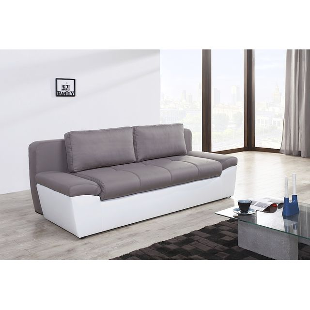 Switsofa canap convertible 3 places solo taupe pu blanc - Canape convertible 3 places conforama ...