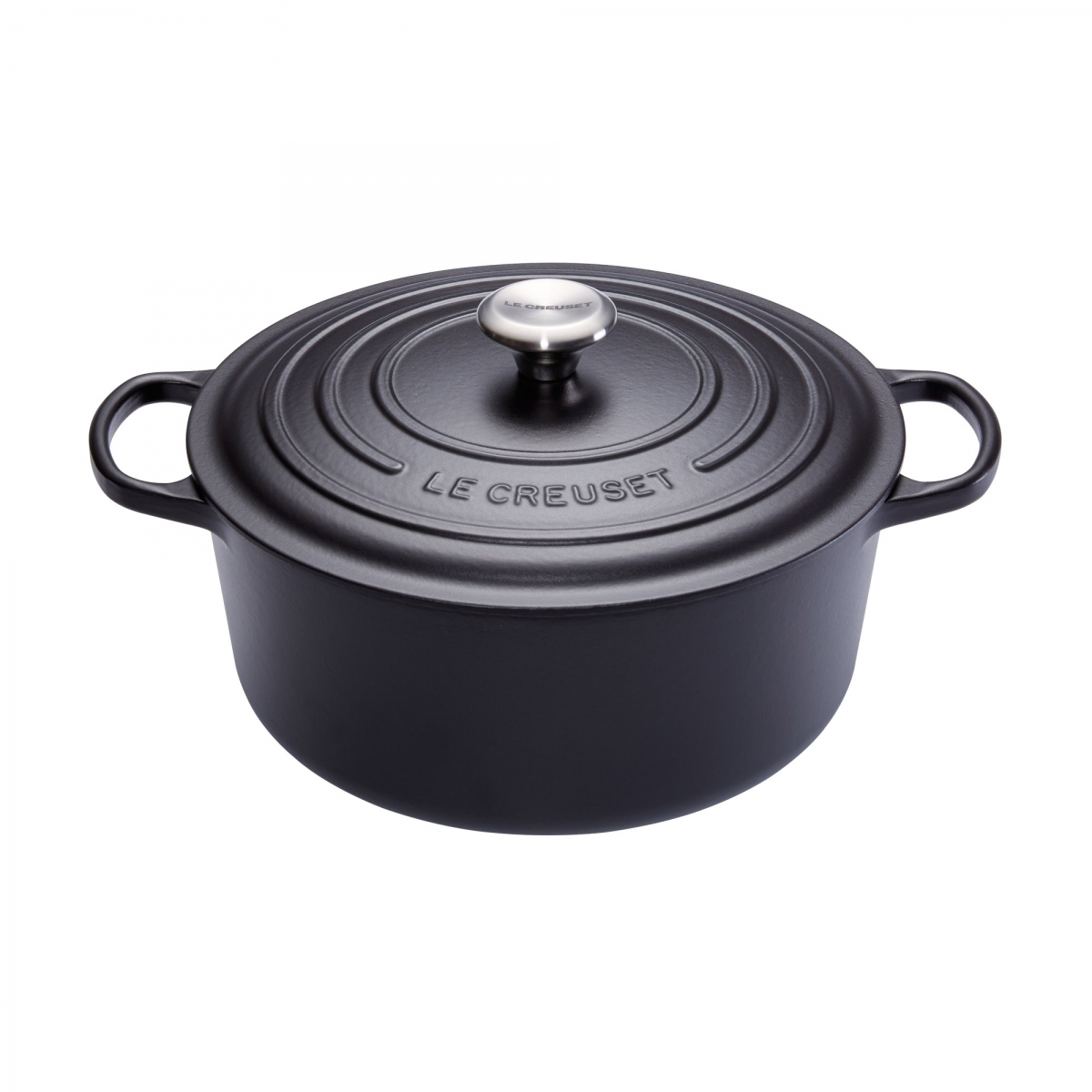 cocotte en fonte ronde 30 cm noir mat le creuset signature. Black Bedroom Furniture Sets. Home Design Ideas