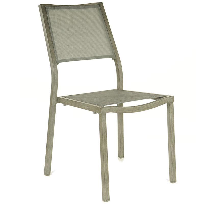 proloisirs chaise empilable en alu et textilne argent florence catgorie chaise de jardin. Black Bedroom Furniture Sets. Home Design Ideas