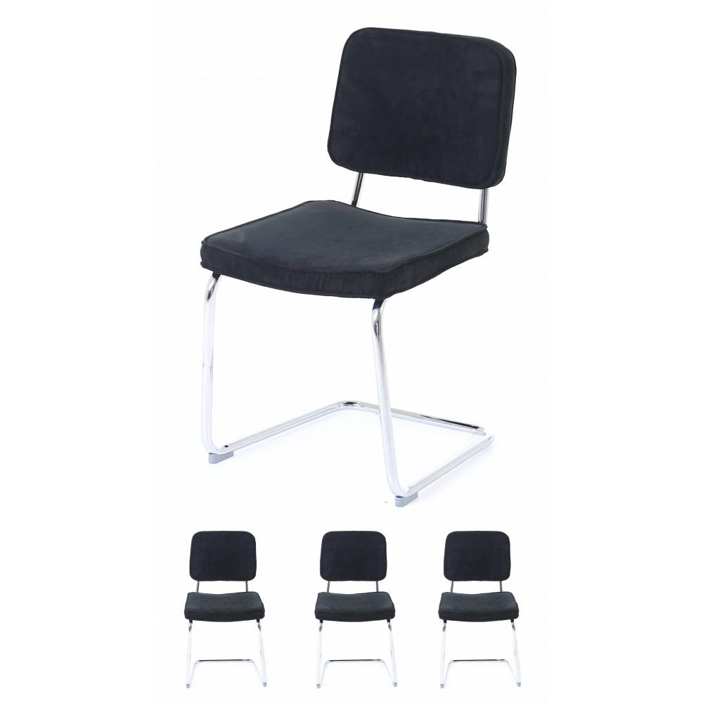 inwood 4x chaise brink velours noir cabaret. Black Bedroom Furniture Sets. Home Design Ideas