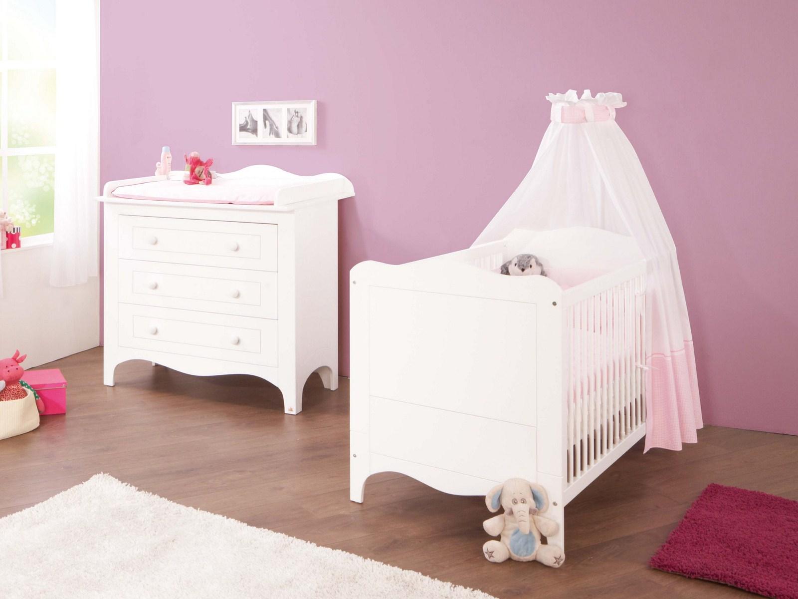 Pinolino Chambre bébé Polar blanc: Lit évolutif, commode à ...