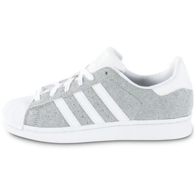 adidas superstar bande brillante superstar femme grise et blanche