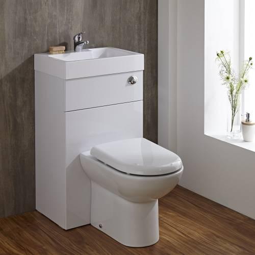 Lave Main WC Intégré Gain Place Meuble Lavabo Céramique Blanche