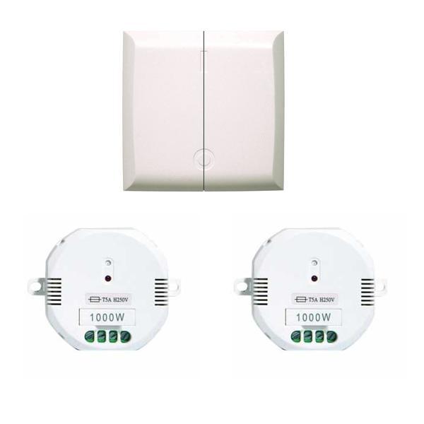 Chacon cinterrupteur double sans fil 2 modules for Eclairage jardin sans fil