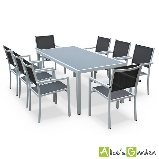 Alice c s garden salon de jardin aluminium table 180cm for Alice garden salon jardin