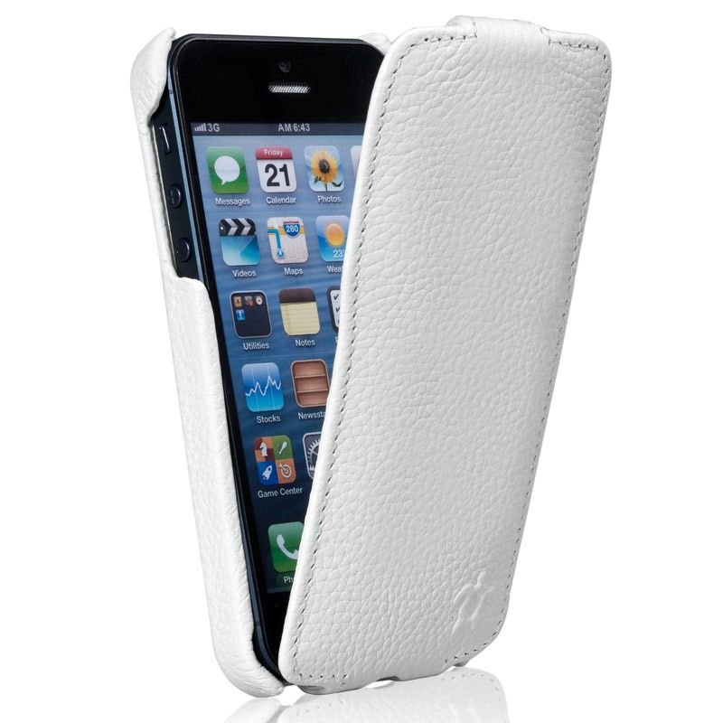 Issentiel housse pour iphone 5 cuir blanc grain collect for Housse pour iphone