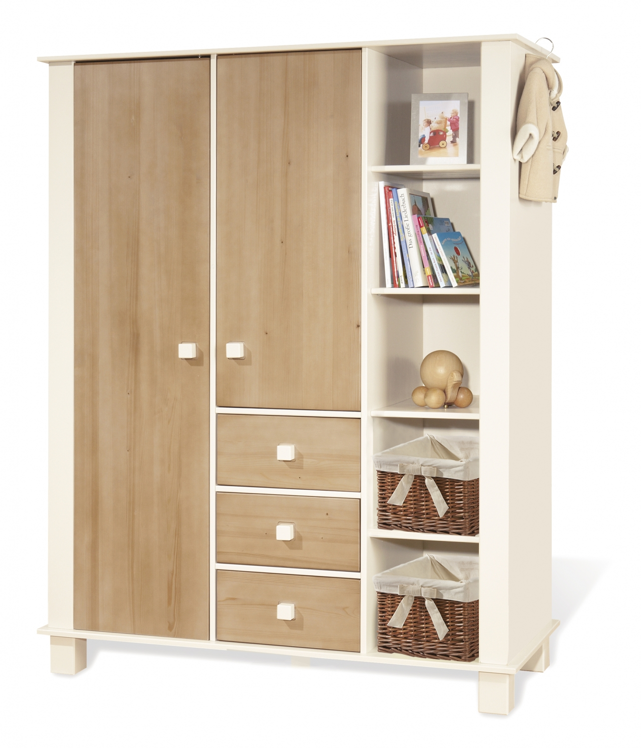 pinolino armoire nina 1 porte pin massif lasure blanche. Black Bedroom Furniture Sets. Home Design Ideas