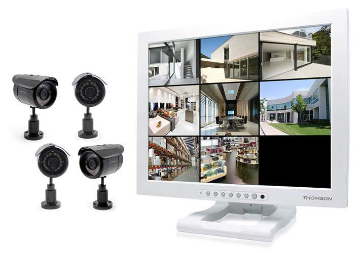 thomson kit de vid osurveillance sans fil avec cran coule. Black Bedroom Furniture Sets. Home Design Ideas