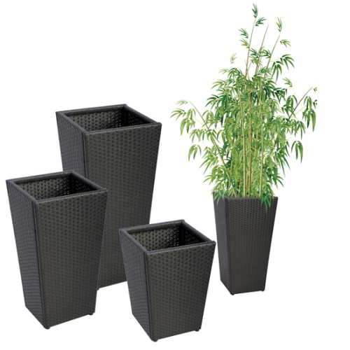Alpina c dco jardin cache pot noir extrieur h 83 cm for Grand pot exterieur jardin