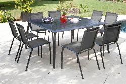 Pro table de jardin carr azuro 140 royal grey loi for Table de jardin carre