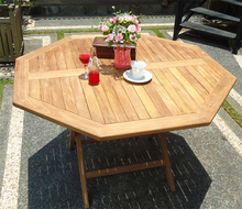 Teck table pliante octogonale en 120x120 cm - Table de jardin octogonale ...