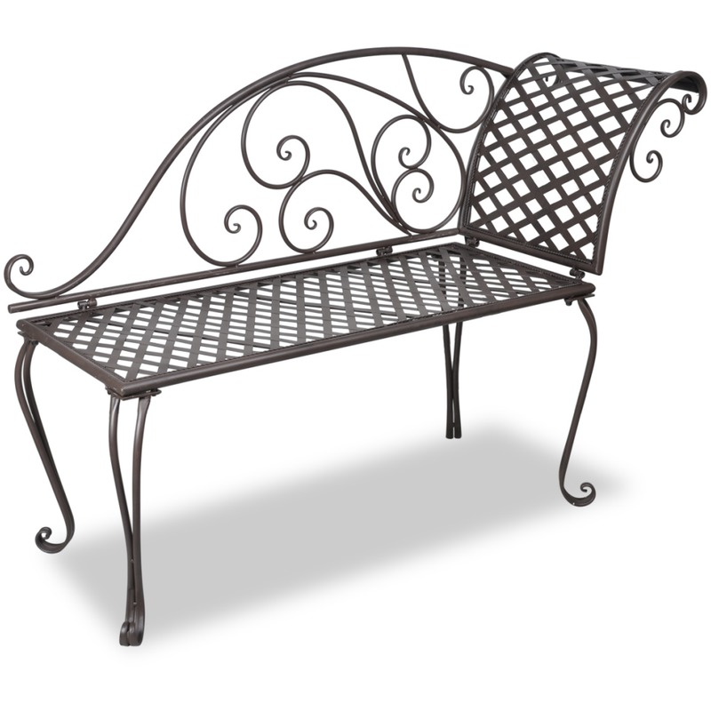 Vidaxl chaise longue en m tal brun motif de rose for Chaise longue jardin metal