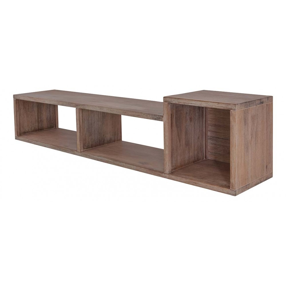 Inwood etagre murale acacia massif 3 niches dunkan for Etagere niche murale