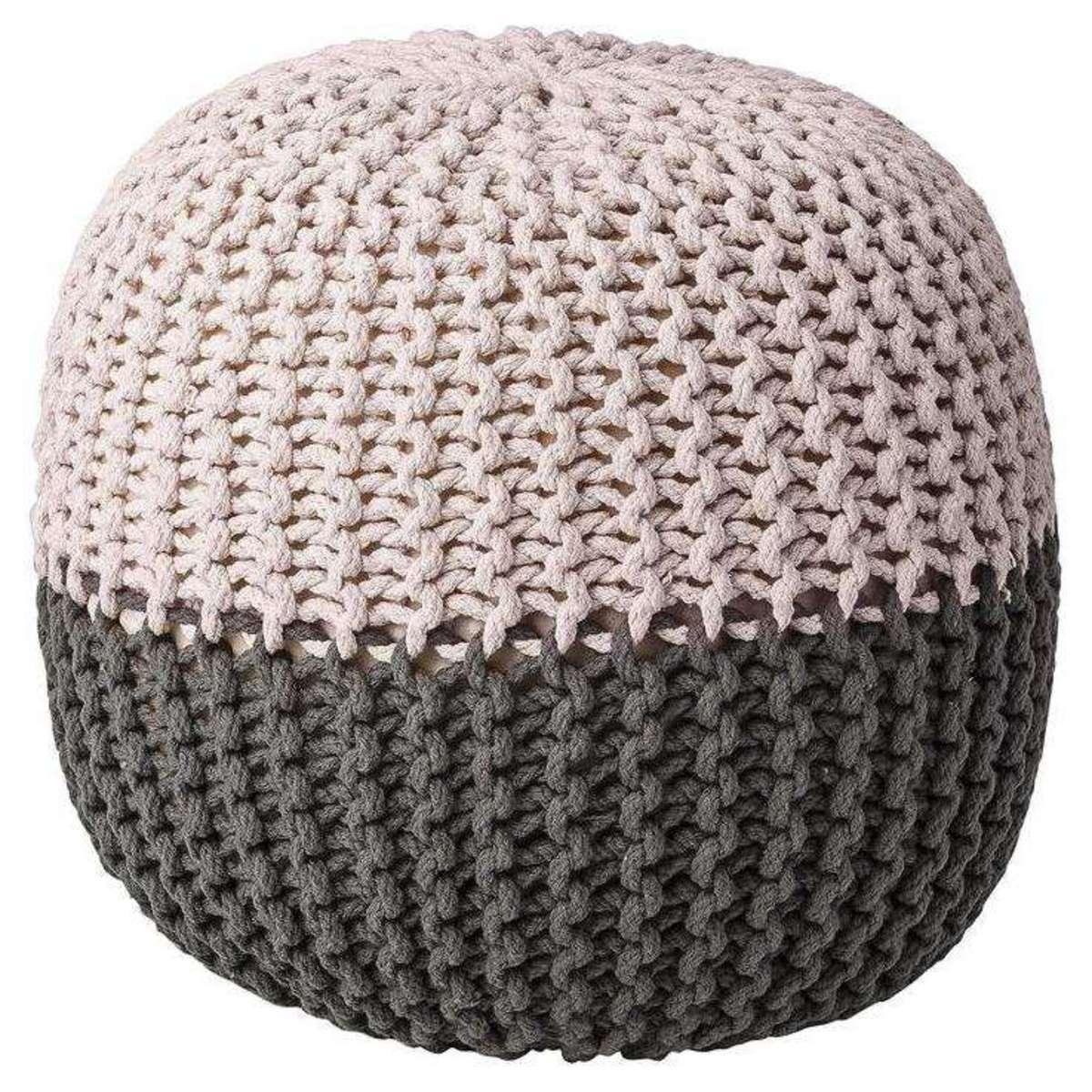 bloomingville pouf enfant en coton tricot bicolore gris et r. Black Bedroom Furniture Sets. Home Design Ideas