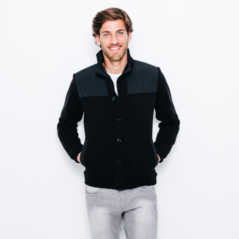 gilet noir homme jules gray cardigan sweater. Black Bedroom Furniture Sets. Home Design Ideas