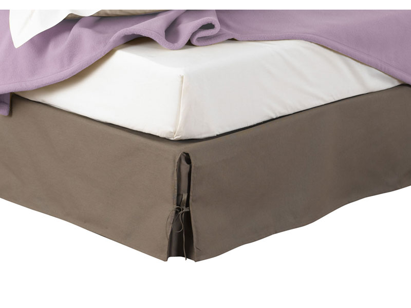 Conforama cache sommier antigua coloris taupe for Housse cache sommier