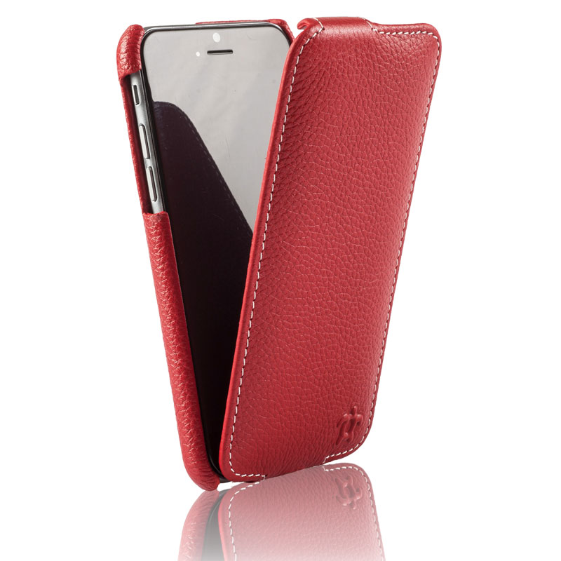 Issentiel housse pour iphone 6 4 7 cuir rouge grain col for Housse iphone 7 cuir