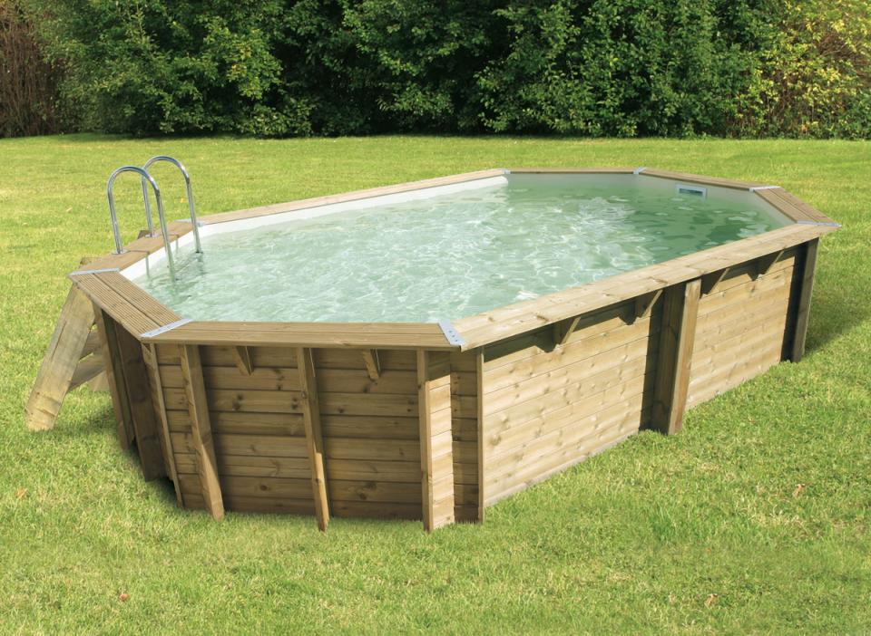 Ubbink cpiscine en bois avec liner ocea 400x610 beige for Liner de piscine en bois