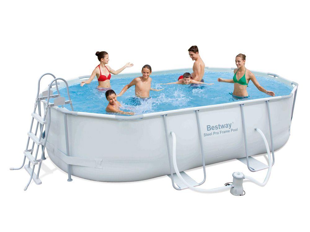 bestway piscine tubulaire ovale steel pro frame x 3