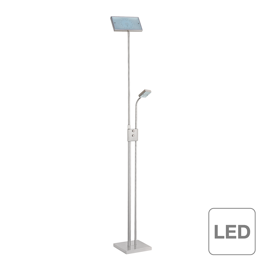 brilliant lampadaire led avec lampe de lecture sunniva 19 w. Black Bedroom Furniture Sets. Home Design Ideas