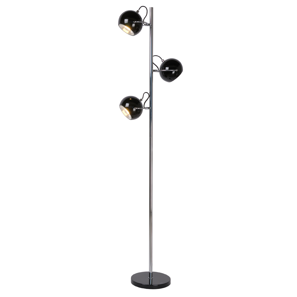 lucide lampadaire comet triple spot orientable noir. Black Bedroom Furniture Sets. Home Design Ideas
