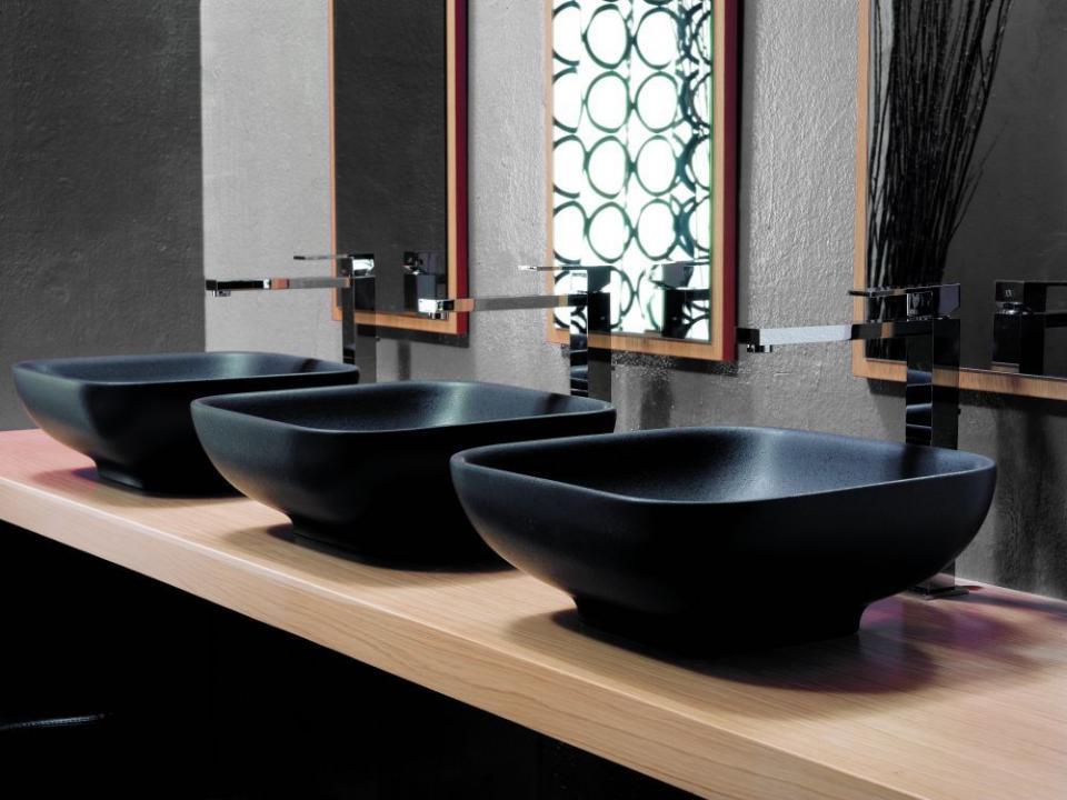 Catgorie lavabo et vasque du guide et comparateur d 39 achat for Lavabo noir salle de bain