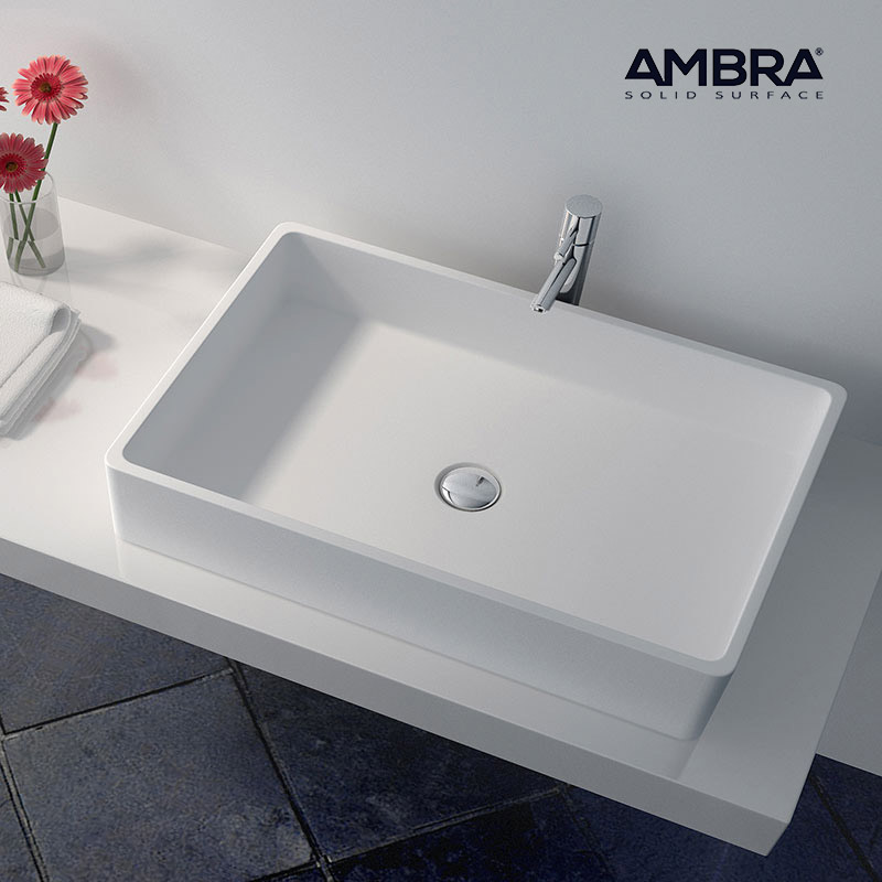ambra vasque double rectangulaire 80 cm en solid surface. Black Bedroom Furniture Sets. Home Design Ideas