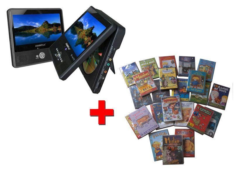 Pack lecteur dvd portable double cran 7 tft 30 films - Lecteur divx de salon ...
