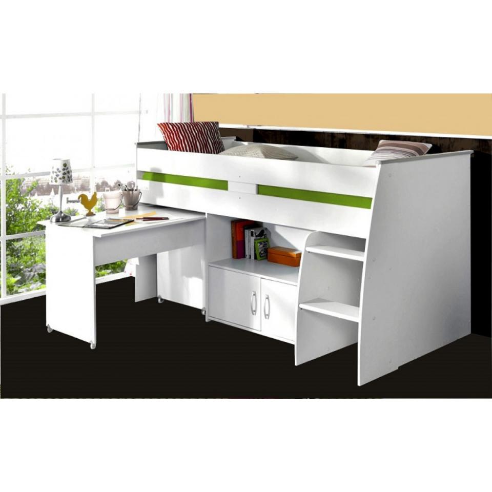 terre soldes lit enfant combin blanc 90x200 avec bureau de nuit. Black Bedroom Furniture Sets. Home Design Ideas