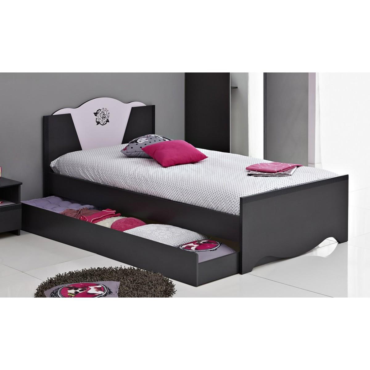 terre lit en bois 90x200 avec tiroirs gris ombre rose dr. Black Bedroom Furniture Sets. Home Design Ideas