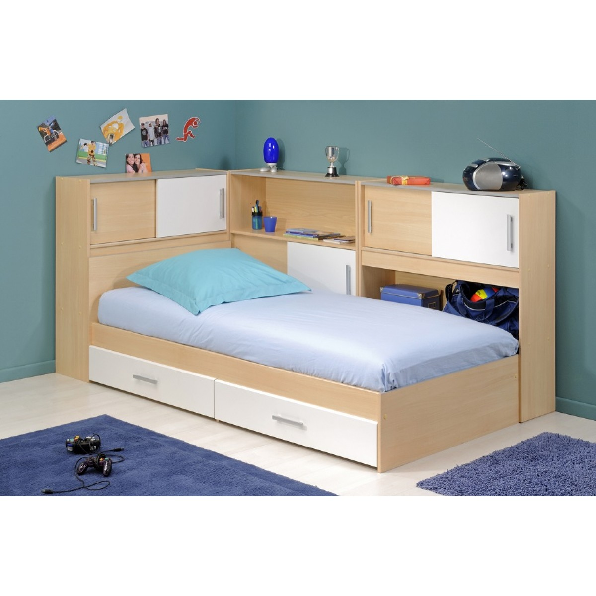 terre lit enfant combin 90x190 nolan de nuit. Black Bedroom Furniture Sets. Home Design Ideas