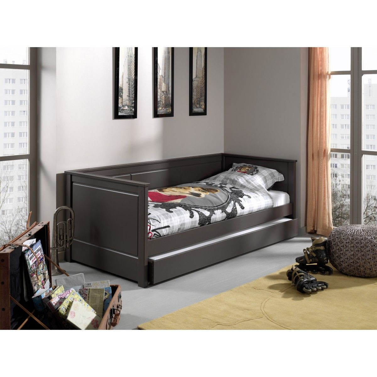 terre soldes lit enfant canap bois massif taupe tiroir. Black Bedroom Furniture Sets. Home Design Ideas