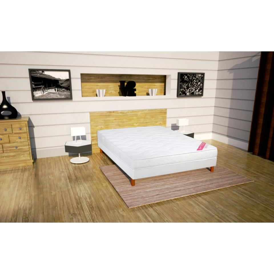 relaxima censemble matelas fraicheur sommier pesanteur pieds 90x200. Black Bedroom Furniture Sets. Home Design Ideas