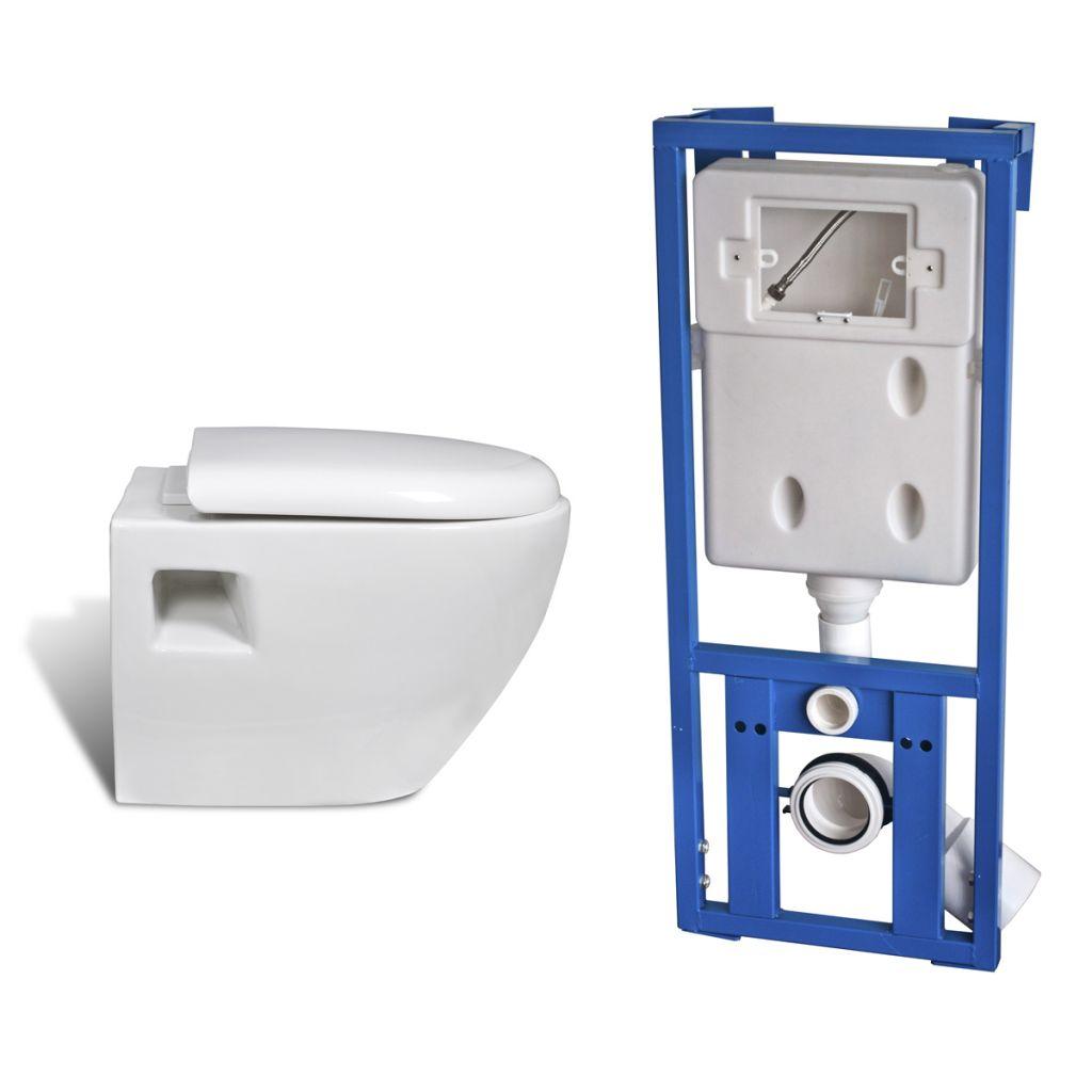vidaxl cuvette wc suspendue avec abattant et bati support. Black Bedroom Furniture Sets. Home Design Ideas