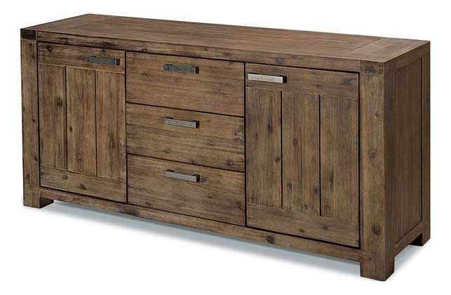 Inwood buffet acacia massif 2 portes 3 tiroirs vermont - Meubles acacia massif ...