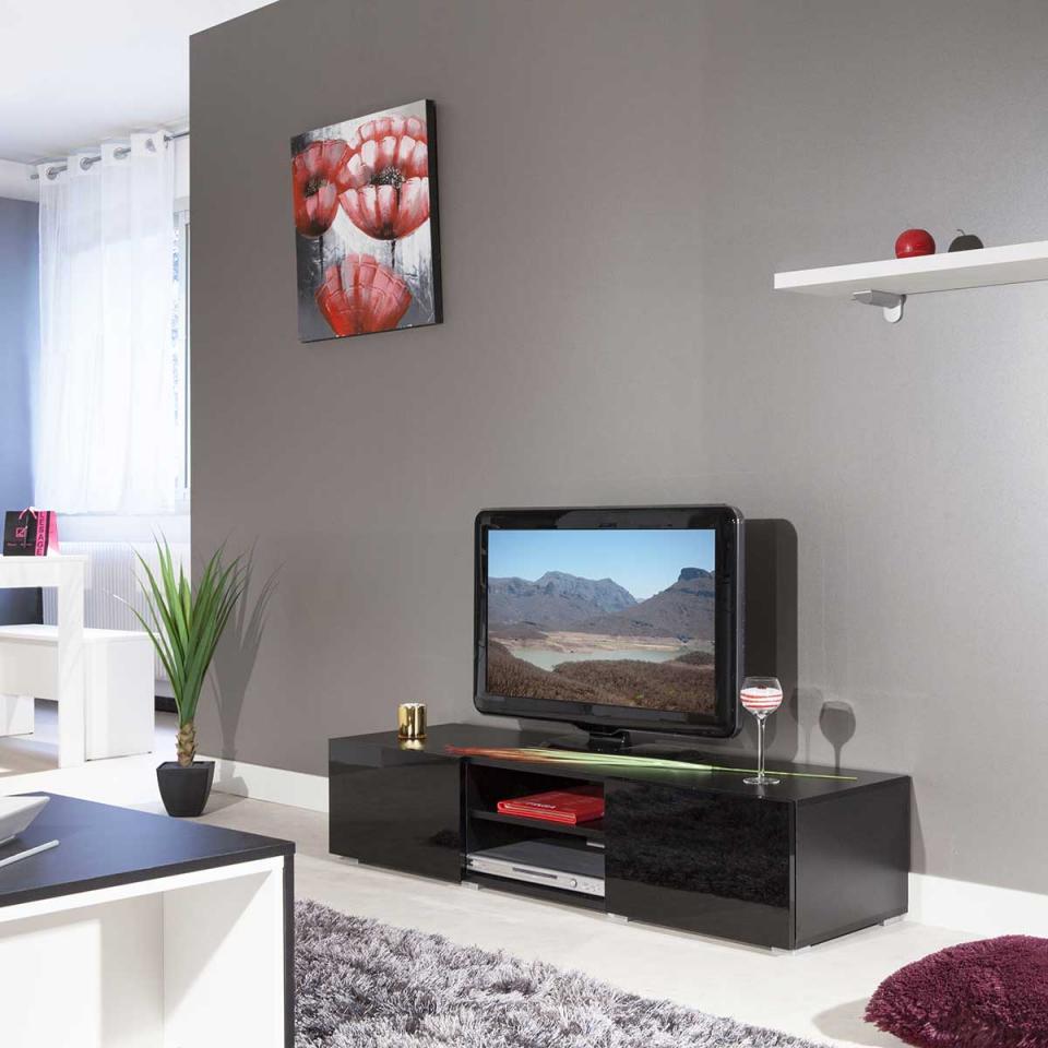meuble tv hilaire 4 niches 2 tiroirs coloris laqu blanc. Black Bedroom Furniture Sets. Home Design Ideas